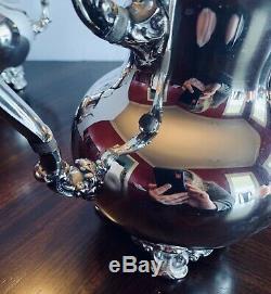 Antique Poole Silver Company Silver Plate 4-pc Coffee Tea Service-Top Condition