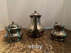 Antique Reed & Barton NO 3515 Silver Plate 3 Piece Tea Set Teapot Sugar Creamer