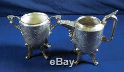 Antique Reed & Barton Tea Set Pat'd 1871 Silverplate Samovar Waste Bowl 6 Piece