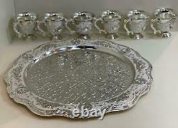 Antique Set of 8 Silver Plated Carved Decoration Brass Pitcher Tea Pot Jug White