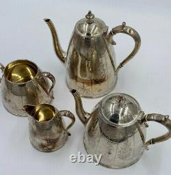 Antique Silver Plate Elkington & Co Etched Tea Pot Coffee Service Set Victorian