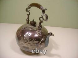 Antique Silver Plate Elkington & Co Tea Pot Kettle No Stand Engraving, Wood Hand