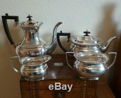 Antique Silver Plated 4 Piece Tea Service-excellent Condition