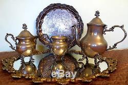 Antique Silver Plated Art Nouveau Coffee Tea Serving Set Teapot Sugar Milk Jug
