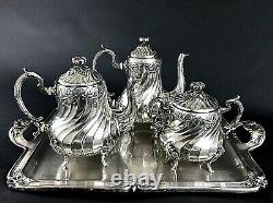 Antique Silver Plated French Christofle Coffee Tea Set Tray Teapot Louis 19th