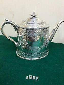 Antique Silver Shaw & Fisher Tea Coffee Pot Cream Silverware Vintage Set Sugar