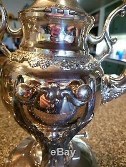 Antique Silver on Copper Tilt Tea Pot Spirit Kettle Stand Burner BSCo