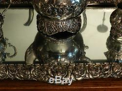 Antique Silver on Hammered Copper Repousse Tea Set With Matching Plateau Tray