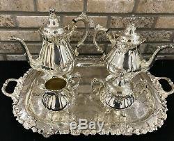 Antique Silverplate Wallace Baroque Coffee & Tea Service Cream Sugar Tray 6 Pc