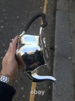 Antique Solid Silver Tea Pot With Block Ebony Handle Sheffield 1908 Scrap 648.8g