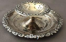 Antique Sterling Silver REPOUSSE Tea Strainer Plate RARE