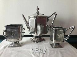 Antique Tea Coffee Pot Set Wilcox Quadruple Silver Plate Floral Design