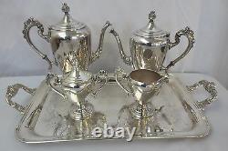 Antique Theodore Starr Silver on Copper Tea Coffee Service Set Art Deco 5 pc