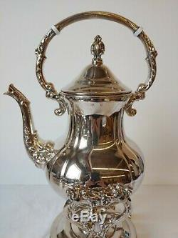 Antique Towle Silverplate Tilting Swinging Coffee Tea Server Pot on Warmer Stand