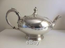 Antique Victorian 4 Piece Ornate Silver Plate Tea Set James Dixon & Sons