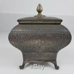 Antique Victorian James Dixon and Sons Silver Plated Bombe Tea Caddy Decorative