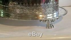 Antique Victorian John Sherwood & Sons Ornate Silverplate Tea Caddy with Claw Feet