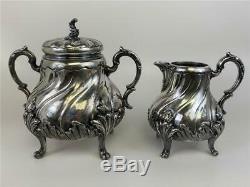 Antique Victorian Rococo SilverPlate Tea 4pc Set Coffee Pot Teapot Sugar Creamer