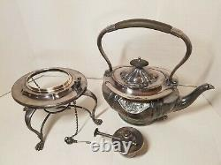 Antique Victorian Tilting Tea Pot Kettle with Stand Burner Silver Plate