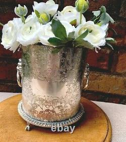 Antique Vintage English Silver Plate Cache Pot Tea Caddy Box