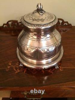 Antique Vintage Engraved Silver Ball Claw Feet Tea Coffee Biscuit Barrel Mappin