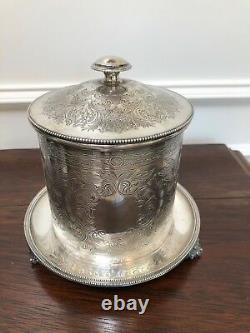 Antique Vintage Engraved Silver Tobacco Tea Coffee Footed Biscuit Barrel Marked