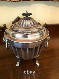 Antique Vintage Silver Tobacco Tea Coffee Footed Biscuit Barrel Sheffield