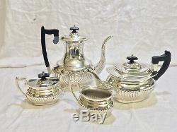Antique Vtg Art Deco LEONARD Silver Plated Tea Pot Set Bakelite Handle Pitcher
