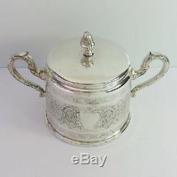 Antique WMF Silverplate Teapot, Coffee Pot & Sugar Bowl Tea Set, Floral, Germany