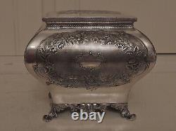 Antique W. W. H. & Co. Georgian Style Silverplate Tea Caddy Box EP Plate Silver