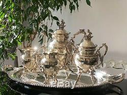 Antique Wilcox Joanne Coffee / Tea Set 4 Piece Set plus Tray