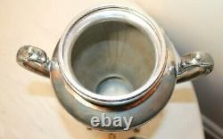 Antique ornate engraved silver plate Reed & Barton tea samovar dispenser kettle