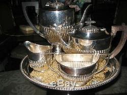 Art Deco 4 Pc. Silver Plate E. P. N. S. Coffee & Tea Service Hallmarked, England
