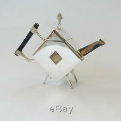 Art Deco Silver Christopher Dresser Tea Pot Ebonised Wood Architectural