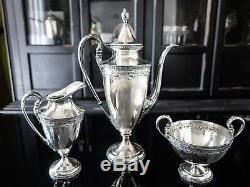 Art Deco Silver Plate Tea Set By Derby Silver Co Teapot Sugar Bowl Creamer