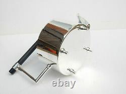 Art Deco Silverplate Ebonised Wood Architectural Tea Pot