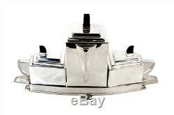 Art Deco Style Silver Plate Tea Coffee Set on Tray