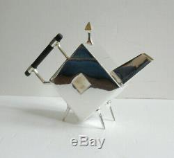 Art Deco Tea Pot Christopher Dresser Silverplate Ebonised Wood Handle