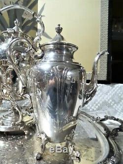 Art Nouveau Silver On Copper Tea Service 9 Pieces