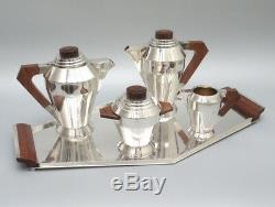 Authentic Art Deco Period French Silver Plate, Tea Coffee Service, Tray, Ruffier