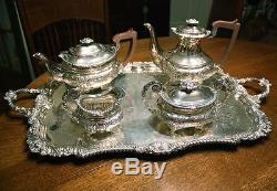 BARKER ELLIS Floral Repousse Silver plate Tea Coffee Service & Tray. Elegant