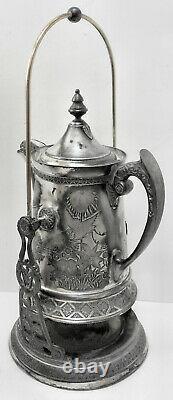 BEAUTIFUL! Atq c1800s SLV PLATED ORNATE ART DECO GOTHIC COFFEE TEA SAMOVAR URN