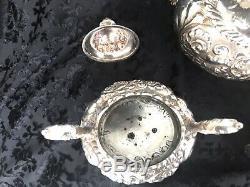 Barbour Silver Co. Tea Set Quadrupule Silver Embossed Sugar Bowls Creamer Teapot