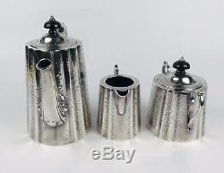 Barker Ellis Edwardian Engraved Silver Plate 3 Piece Tea Set With Ebony Handles
