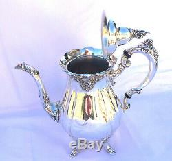 Baroque by Wallace Silver Plated 5 Piece Coffee and Tea Set with Oval Tray