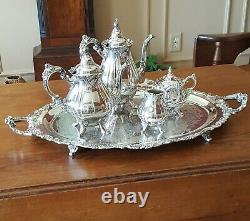 Baroque by Wallace, Silverplate 5 pc Tea & Coffee Service with Tray