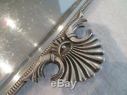 Beau Plateau à thé métal argenté anses coquille godrons silverplate Tea tray v69