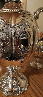 Beautiful Antique Melon Tea Set Silver Plate Teapots Sugar Bowl & Creamer