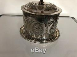 Beautiful Chased Silver Plated Biscuit Barrel/tea Caddy Engraved 1873