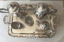 Beautiful, Vintage Silver On Copper Coffee And Tea 6 PC Set